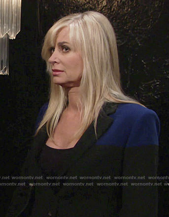 Ashley's black and blue colorblock jacket on The Young and the Restless