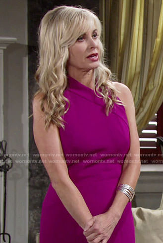 Ashley's magenta pencil dress on The Young and the Restless
