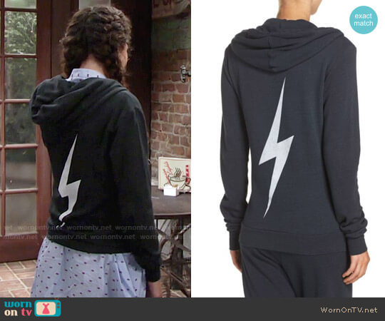 Aviator Nation Bolt Zip Hoodie worn by Lexie Stevenson on The Young & the Restless
