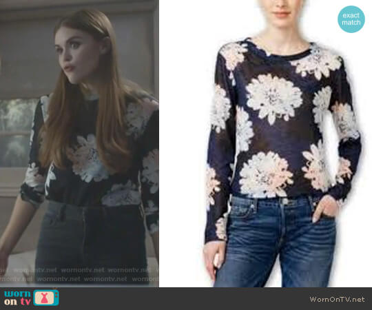 Bar III Daisy-Print Snit Top Blue Notte worn by Holland Roden on Teen Wolf