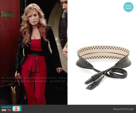 Bcbgmaxazria Whipstitch Faux-Leather Waist Belt worn by Tracey Bregman on The Young & the Restless