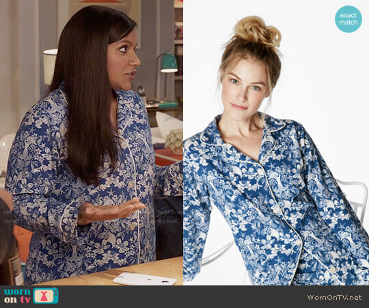 BedHead Navy Under the Sea Print Pajamas  worn by Mindy Kaling on The Mindy Project