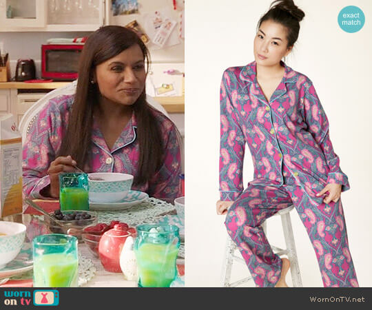 BedHead Pashmina Paisley Pajamas worn by Mindy Lahiri (Mindy Kaling) on The Mindy Project