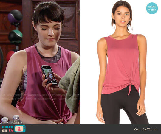 Beyond Yoga All Tied Up Racerback Tank worn by Cait Fairbanks on The Young & the Restless