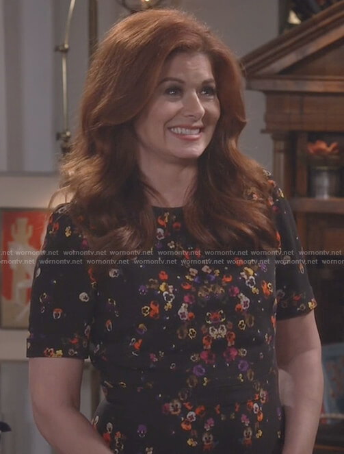 Grace's black floral print dress on Will and Grace
