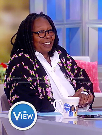 Whoopi's black floral print robe on The View