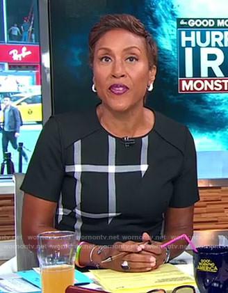 Robin's black grid dress on Good Morning America