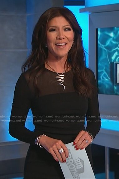 Julie's black mesh panel sheath dress on Big Brother