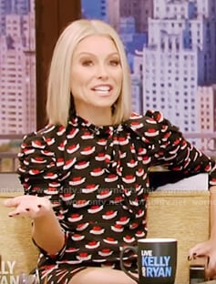 Kelly's black neck tie print dress on Live with Kelly and Ryan