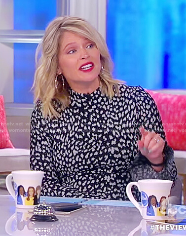 Sarah's black print bell sleeve dress on The View