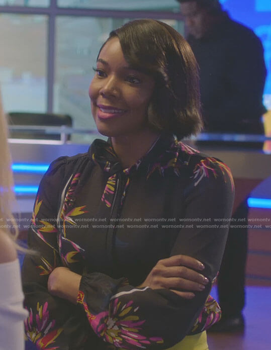 Mary Jane's black printed tie blouse on Being Mary Jane
