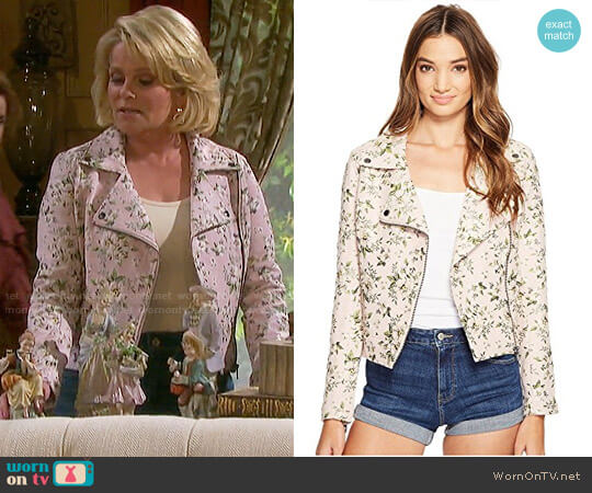 Blank NYC Floral Jacquard Moto Jacket worn by Adrienne Johnson Kiriakis (Judi Evans) on Days of our Lives