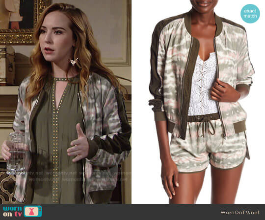 Blank NYC Tie Dye Print Bomber Jacket worn by Camryn Grimes on The Young & the Restless