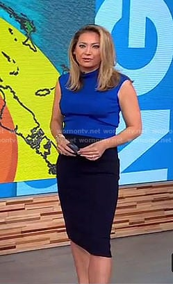 Ginger's blue high neck top and pencil skirt on Good Morning America