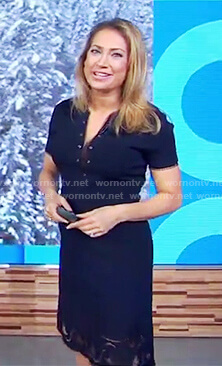 Ginger's blue v-neck lace inset dress on Good Morning America