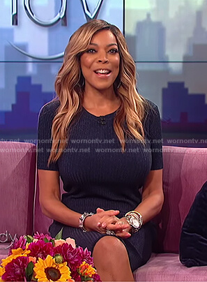 Wendy's blue ribbed dress on The Wendy Williams Show
