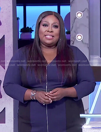 Loni's blue zipper front sheath dress on The Real