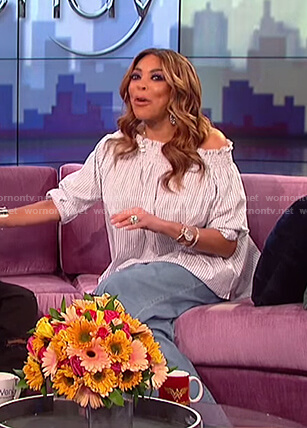 Wendy's blue striped off shoulder top on The Wendy Williams Show