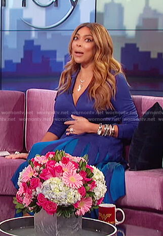 Wendy's blue v-neck long sleeved pleated dress on The Wendy Williams Show