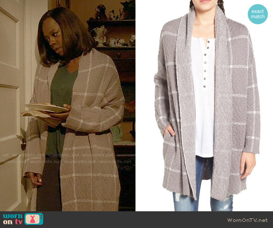 BP Oversize Windowpane Cardigan worn by Viola Davis on HTGAWM