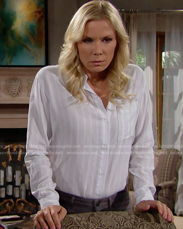 Brooke's white striped button down shirt on The Bold and the Beautiful