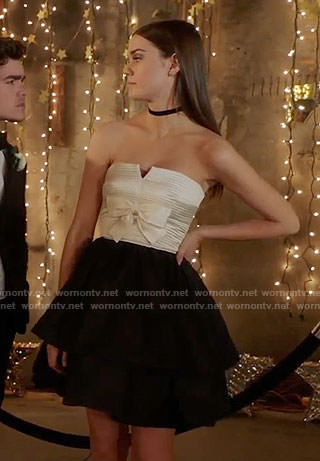 Callie's black and white strapless prom dress on The Fosters