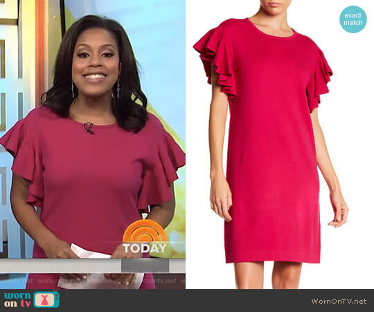 Ruffle Sleeve Knit Dress by Cece worn by Sheinelle Jones on Today
