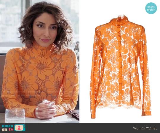 Celine Orange Lace Blouse worn by Delia (Necar Zadegan) on GG2D