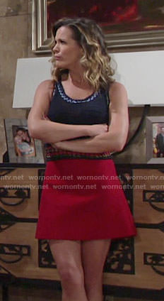 Chelsea's blue knit top and red a-line skirt on The Young and the Restless
