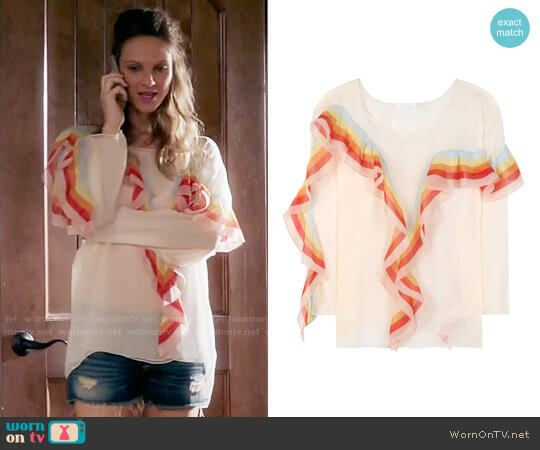 Chloe Rainbow Ruffle Detail Blouse worn by Beau Garrett on GG2D