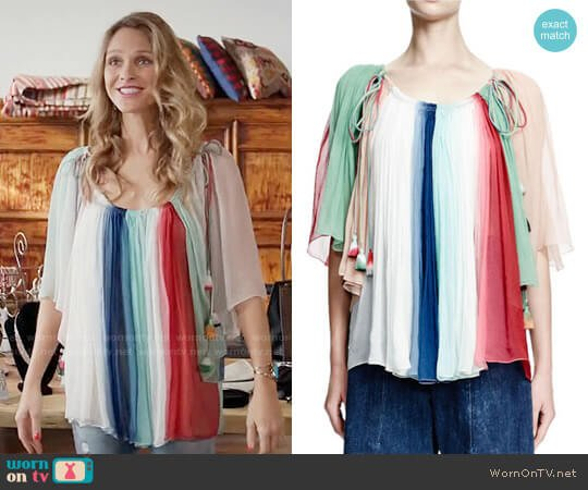 Chloe Rainbow-Striped Silk Tassel Top worn by Beau Garrett on GG2D