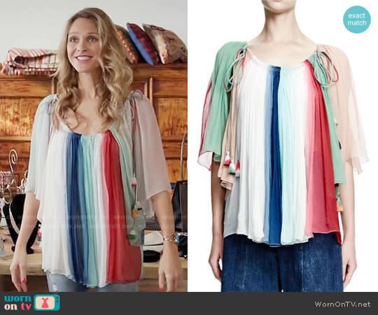 Chloe Rainbow-Striped Silk Tassel Top worn by Phoebe Wells (Beau Garrett) on GG2D
