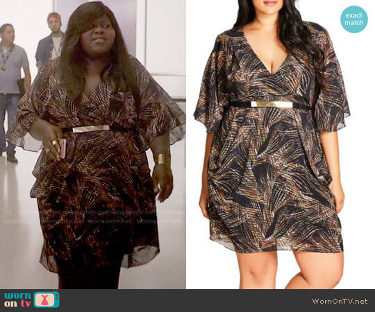 City Chic Midnight Palm Belted Dress worn by Becky (Gabourey Sidibe) on Empire