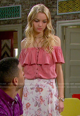 Claire's pink off-shoulder ruffled top on Days of our Lives