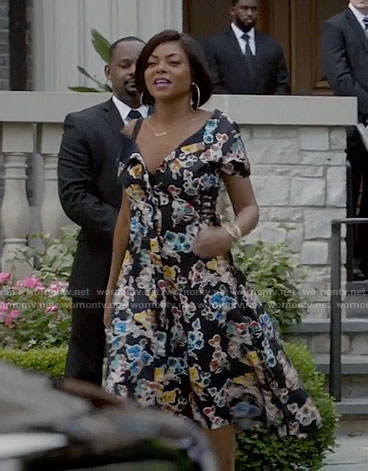 Cookie's black floral off-shoulder dress on Empire