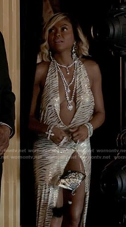 Cookie's zebra halter neck dress on Empire