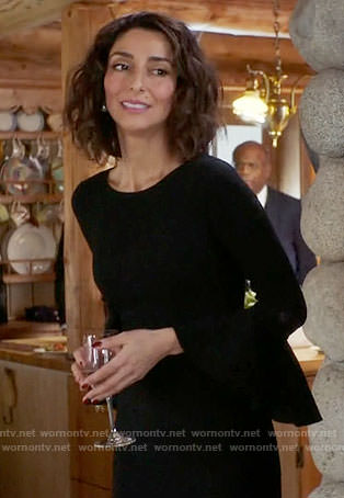 Delia's black bell-sleeve funeral dress on Girlfriends Guide to Divorce