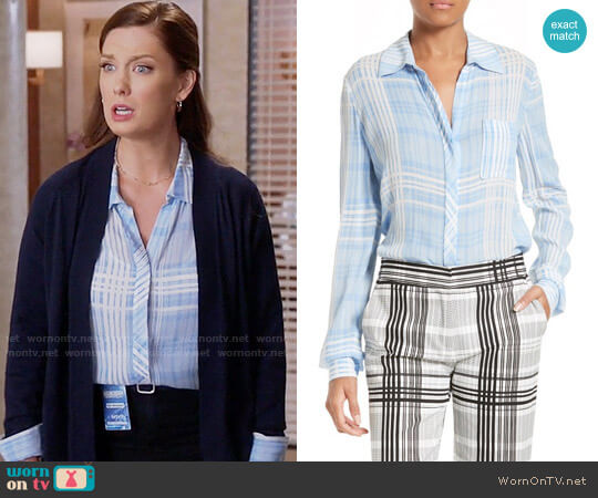 Diane von Furstenberg Carter Shirt in Darnley Hortensia Blue worn by Katherine Wendelson (Briga Heelan) on Great News