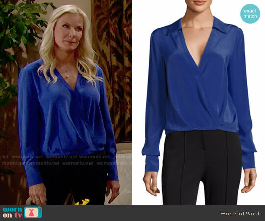 Diane von Furstenberg Collared Silk Blouse worn by Brooke Logan (Katherine Kelly Lang) on The Bold & the Beautiful