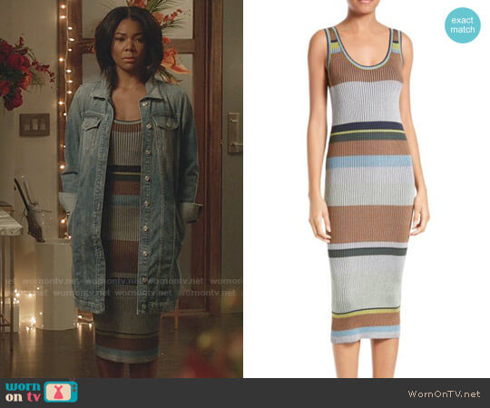 Diane von Furstenberg Stripe Tank Midi Dress worn by Gabrielle Union on Being Mary Jane