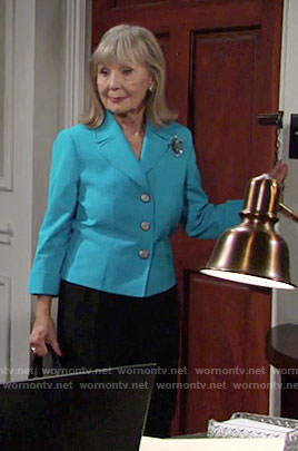Dina's turquoise blue jacket on The Young and the Restless