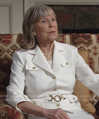 Dina's white jacket with gold buttons on The Young and the Restless