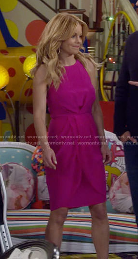 DJ's pink draped sides dress on Fuller House