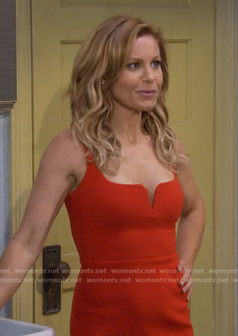 DJ's red notched mini dress on Fuller House