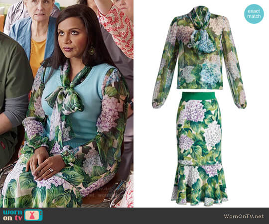 Dolce & Gabbana Hydrangea Print Blouse and Skirt worn by Mindy Kaling on The Mindy Project