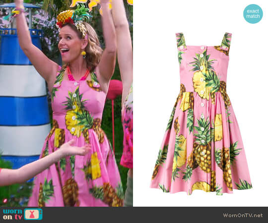 Dolce & Gabbana Pineapple Print Dress worn by Kimmy Gibbler (Andrea Barber) on Fuller House