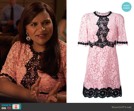 Dolce & Gabbana Lace Dress worn by Mindy Kaling on The Mindy Project