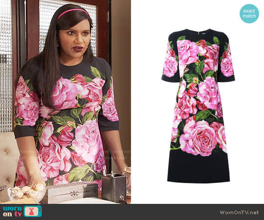 Dolce & Gabbana Rose Print Cady Dress worn by Mindy Kaling on The Mindy Project