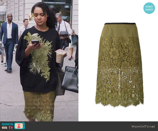 Dries van Noten Embroidered Skirt worn by Aisha Dee on The Bold Type