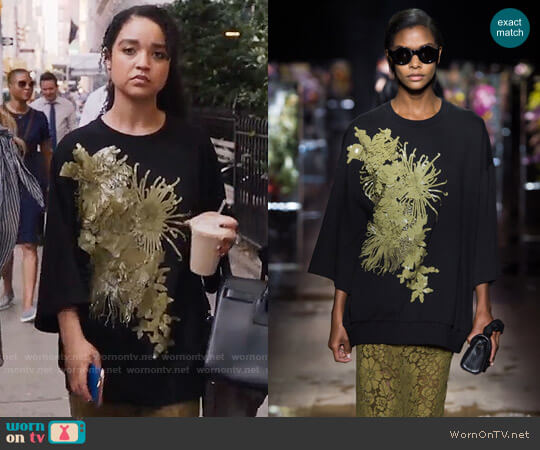 Dries van Noten Sequined Sweatshirt worn by Aisha Dee on The Bold Type